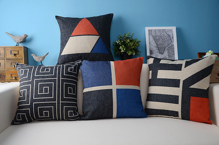 Red White Blue Black Combination and Pattern linen throw pillow case cushion cover pillow case ...