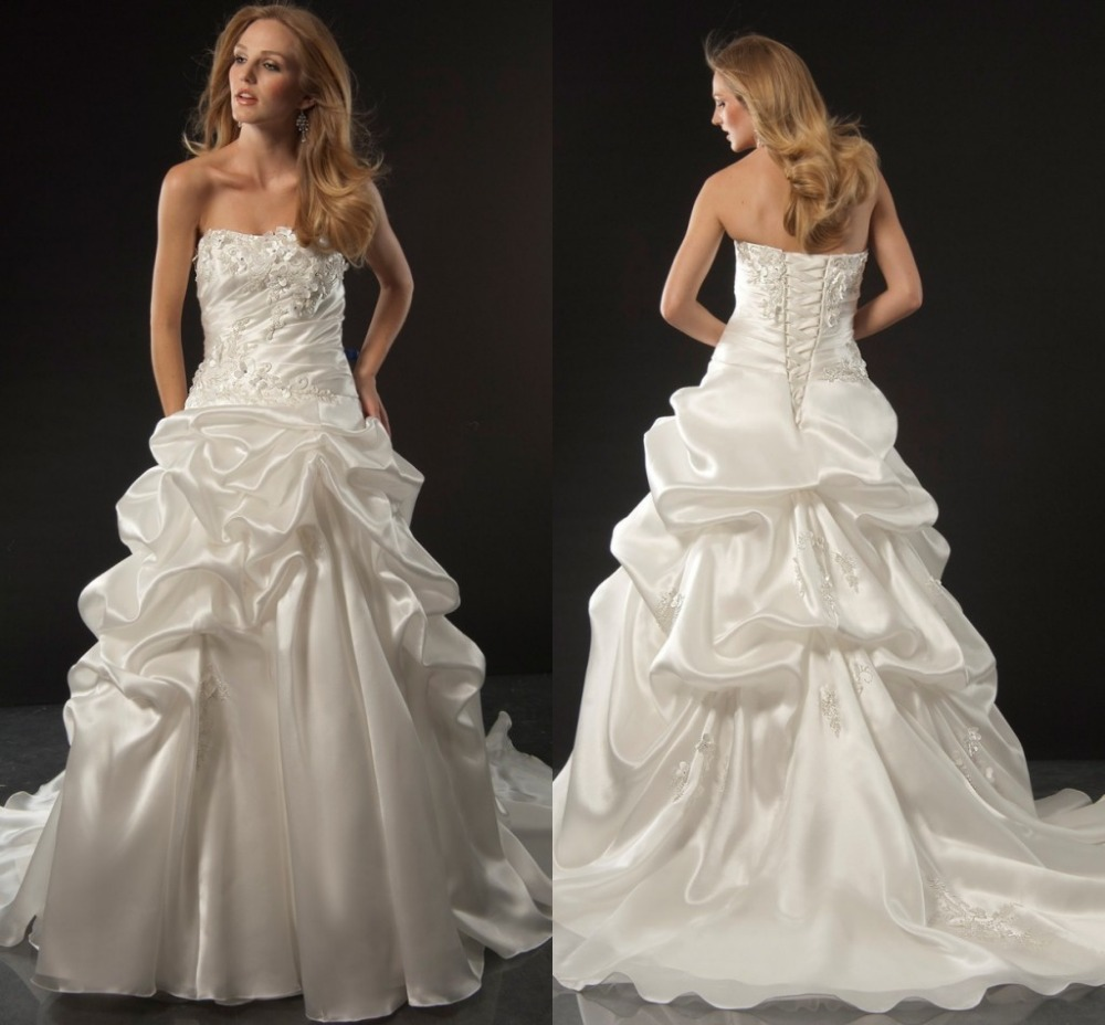 Appliques Satin Strapless Vintage Wedding Gowns Lace Up Back A Line Floor Length Pick Ups Plus Size Wedding Dress 2015 Y861(China (Mainland))