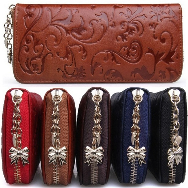 New Fashion Vintage Women Genuine Leather Wallets Long Clutch Embossing Wallet Ladies' Retro Purse Money Clips Card & ID Holder(China (Mainland))