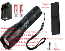 E17 CREE XM-L T6 2000Lumens cree 5modes Zoomable cree LED Flashlight +charger+2*18650 battery+Case(China (Mainland))