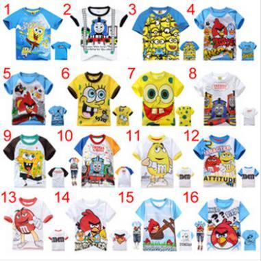 New children 100% cotton bird SpongeBob minion Summer T-Shirts baby boys girls t shirt for kids 2-7 years cartoon Short Sleeve(China (Mainland))
