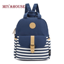 Preppy Style School Bags Backpack For Teenager Girls Canvas Striped Printing Women Backpack Bolsas Mochila Lady Travel Rucksack(China (Mainland))