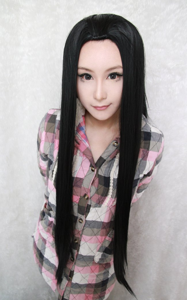 New fashion 90cm Long ONE PIECE-Boa Hankokku Costume male beauty tip  Black Cosplay Costume Wig<br><br>Aliexpress
