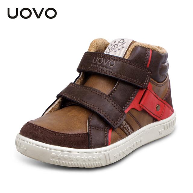 3 цветов UOVO середине вырезать плоские дети мальчики обувь мода спорт обувь осень-зима кроссовки обувь для мальчиков высокого качества размер 27-35