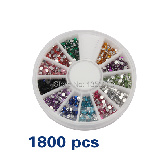 1800 Pieces 1.5mm 12 Colors 3D Glitter Nail Accessories Art Charms Styling Tools Stickers Strass Crystal Rhinestones Decorations(China (Mainland))