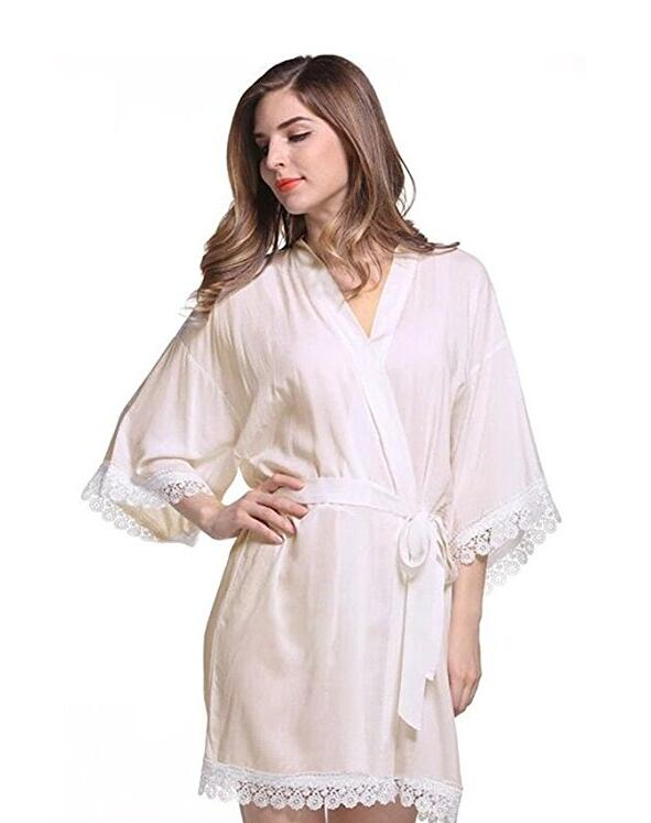 7Colors Long Sexy Lace Cotton Sleepwear Robes Women Bridal Clothes Kimono Bathrobe Gown Solid Nightdress Party Nightgown(China (Mainland))