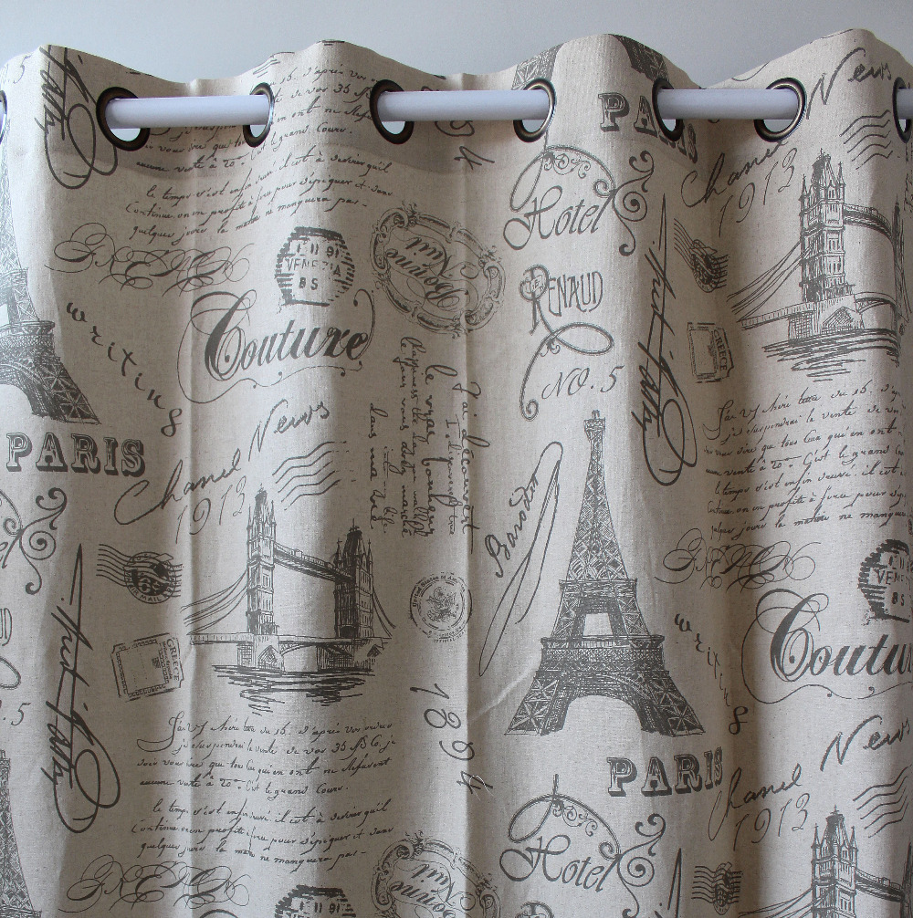 VEZO HOME print eiffel tower letter cotton linen ready window curtains panel door bed room living home decorative 51x98inch - vezohome Store store