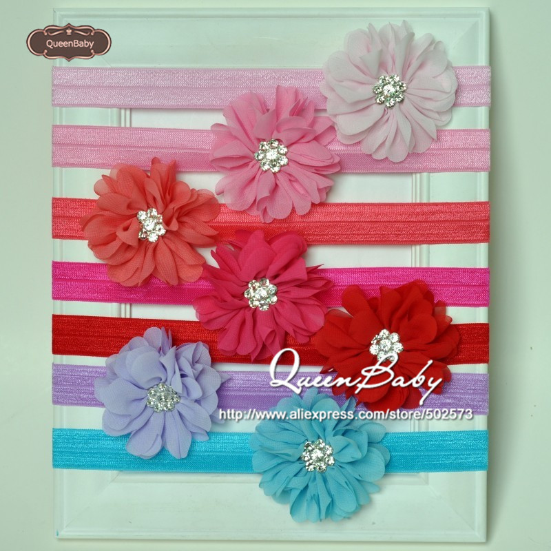 Baby Headband Scallop Ruffuled Ballerina Chiffon Petal Flowers with Spark Rhinestone Buttons Headband  30pcs/lot QueenBaby<br><br>Aliexpress