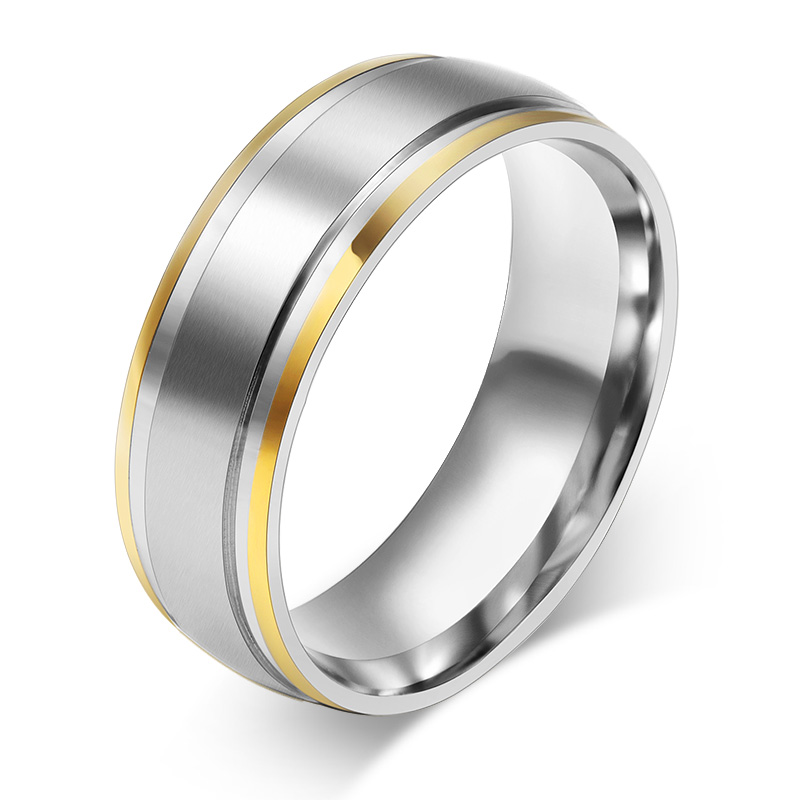 18K Gold Plated Rings 316L Stainless Steel Rings For Men Women Engagement Wedding Classic