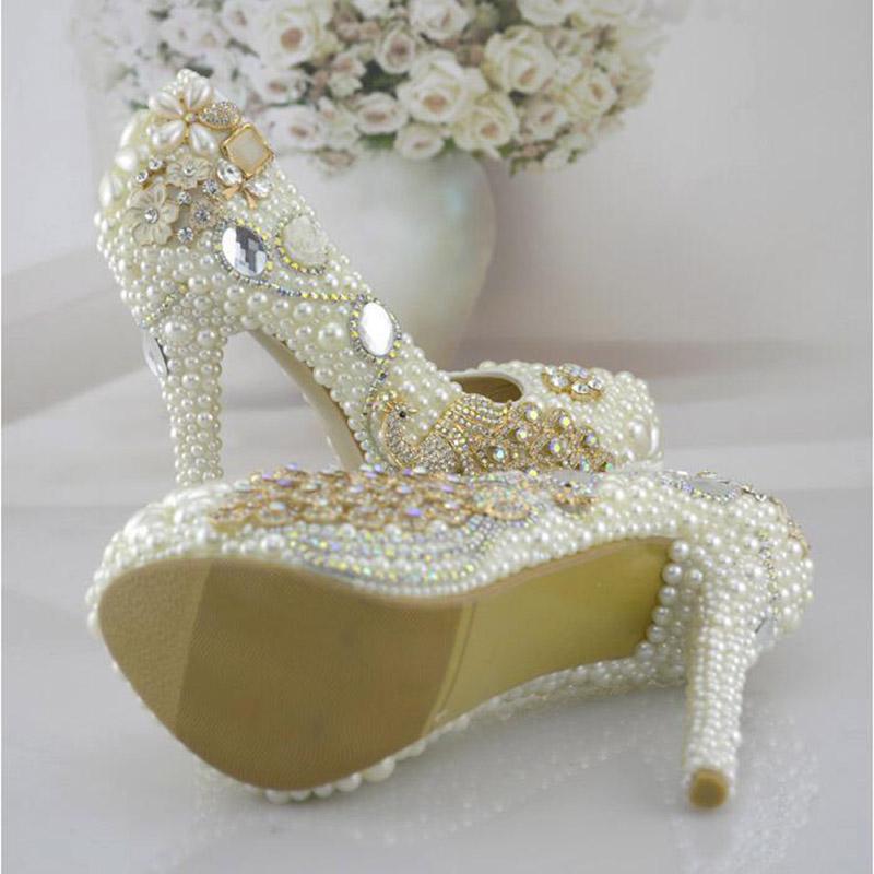 Luxury Bridesmaid Pearl Wedding Shoes Woman Platform Crystal Bright Round Toe Shallow Mouth Bling Hot Selling White Bridal Nice(China (Mainland))