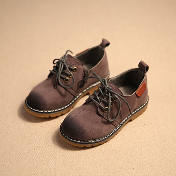 2016 British Style Toddlers Boys Leather Shoes Lace Up Kids Oxfords Toddler Girls Dress Shoes Size 8-11