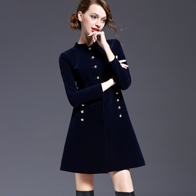 Women's Autumn deep blue slim dress S-XL long Sleeve Empire Waist Bud Shape Jacquard Dresses high quality clothes JS-RC-0015(China (Mainland))