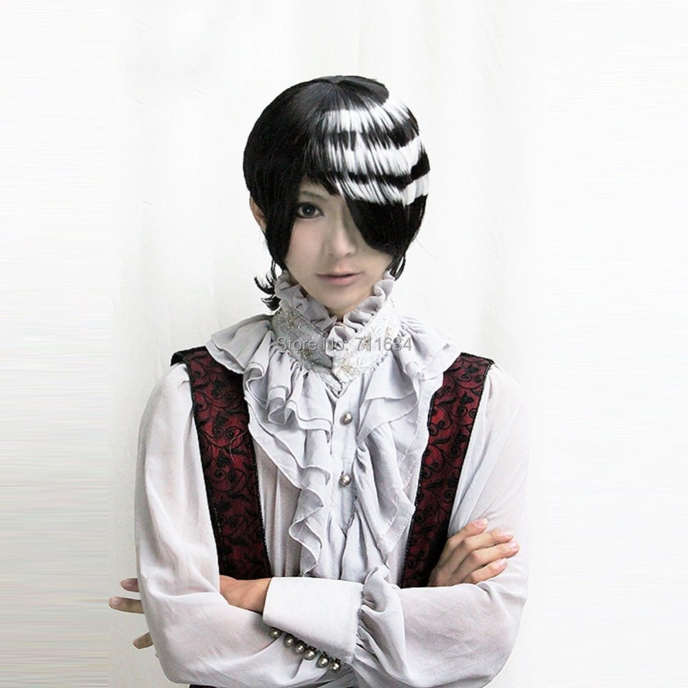Soul Eater DEATH THE KID Short Black Mix White Cosplay Wig(China (Mainland))