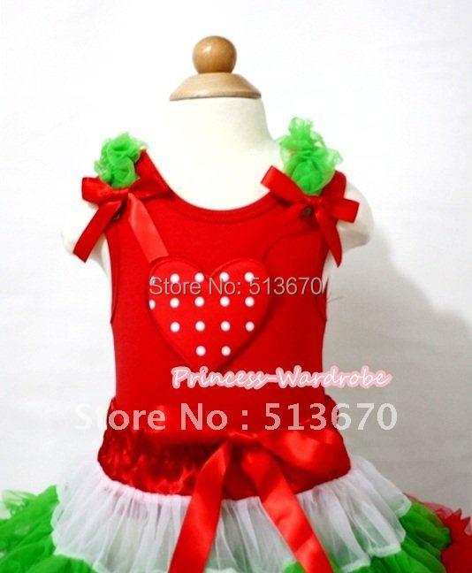 X'Mas Red White Polka Dots Heart Print Red Tank Top with Dark Green Ruffles and Hot Red Bow MAT397(Hong Kong)