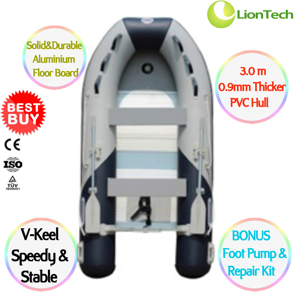 NEW 0.9 mm PVC 3.0 m 4 person Heavy-duty Sport Fishing Rescue Inflatable Boat Dinghy Yacht Tender Raft AL-300, CE Certificated(China (Mainland))