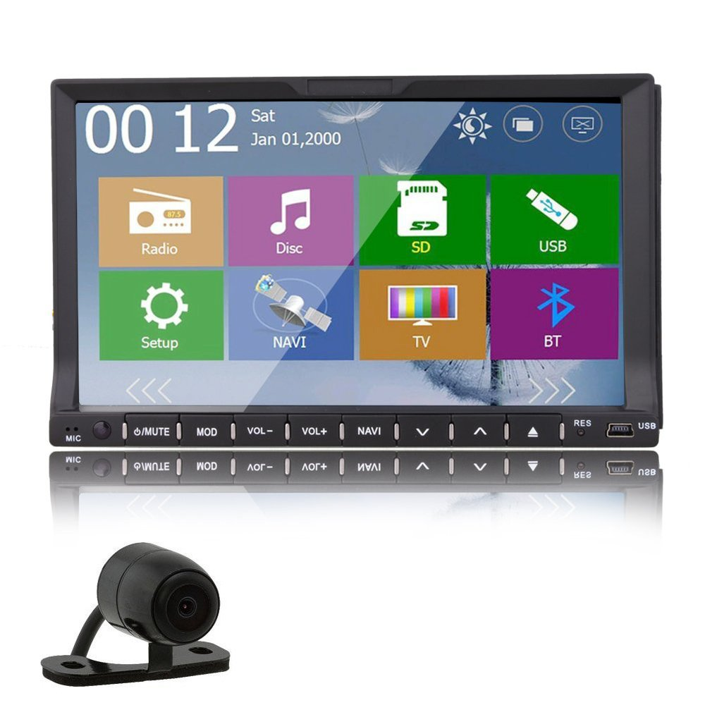 Double 2 Din In Dash 7 inch Touchscreen GPS Car Stereo SD USB RDS Mp3 FM AM Mic Auto with 4 gb gps map card + HD rear camera(China (Mainland))