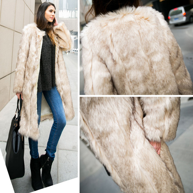 Street Vintage Women Khaki Hairy Faux Rabbit Fur Long Jacket Coat Outerwear Top New Arrivals - Sexy Woman Line store