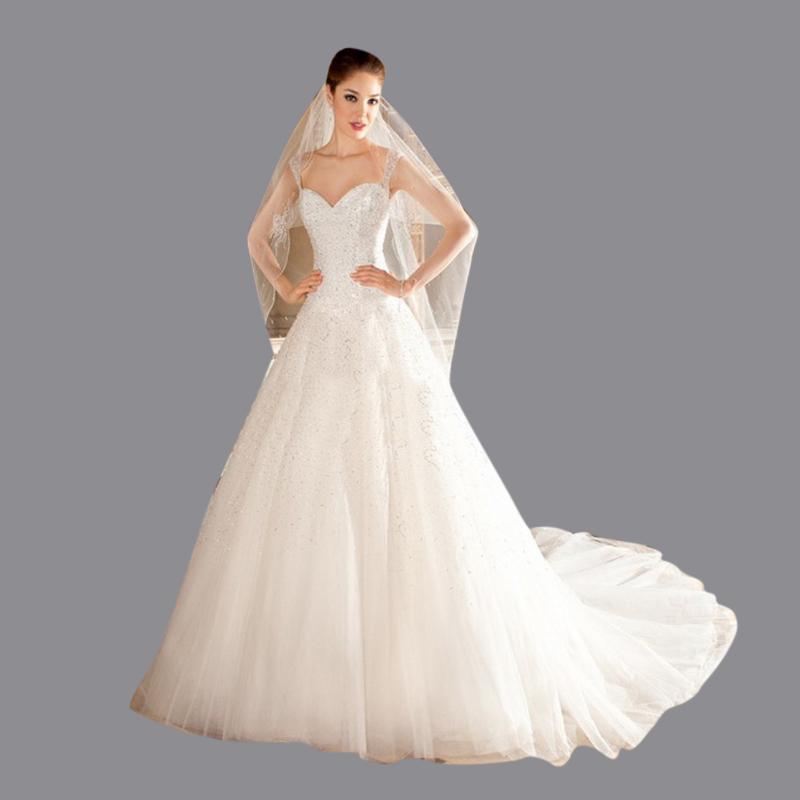 Bohemian Style Wedding Dresses New Fashion Sexy Spaghetti Strap Sweep Train Crystal