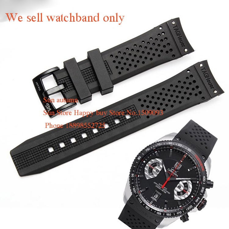 Гаджет  Curved end Watchband Straps 22mm Black pin Buckle Clasp for Brand watches Driver Rubber Silicone men Accessories free shipping  None Часы