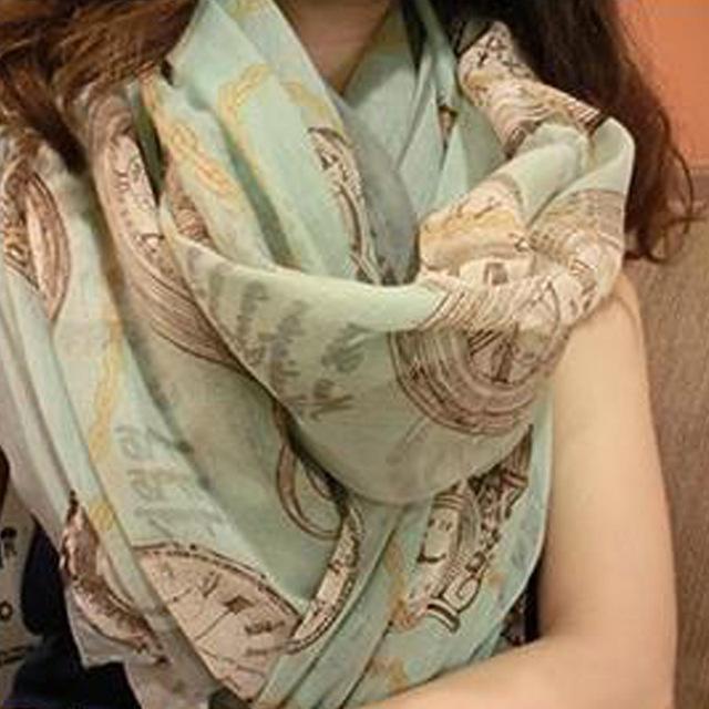 Женский часы париж пряжи шаль большой шелковой пряжи шарф мода шали и шарфы испания мода echarpes bufanda mujer W1008