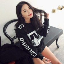 Black Women Girl Casual Crew Neck Blouse Long Sleeve Letter Print Loose Pullover Leisure Loose (China (Mainland))