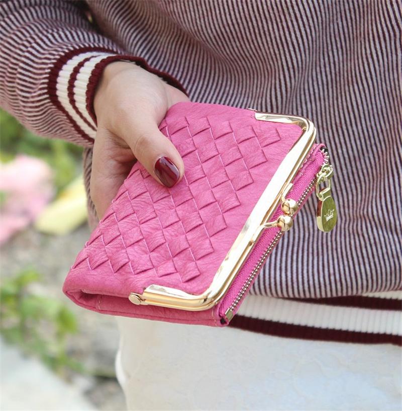 Female European And American Style Weave Wallet Vintage Women Wallet Brand Small Lock Design Women Purse