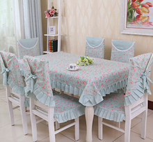 Dining Chair Cover Set Flower Printed Rustic Style Chair Pad Home Decoration Table Cloth Set Home Textile(China (Mainland))