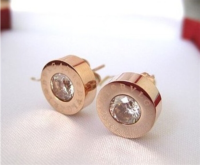 Hot Sale High Quality Fashion Jewelry Stainless Steel Round Shine AAA Zirconia Stud Earrings For Women Free Shipping(China (Mainland))