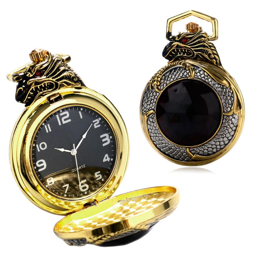 Luxury Golden & Silver Chinese Dragon Design Pocket Watch With Dark Red Zircon Short Golden Chain Gift To Men Women(China (Mainland))