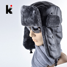 2015 New cap leather bonnet mens winter warm fur hat russia snow caps outdoor ear flaps bomber hats for men(China (Mainland))