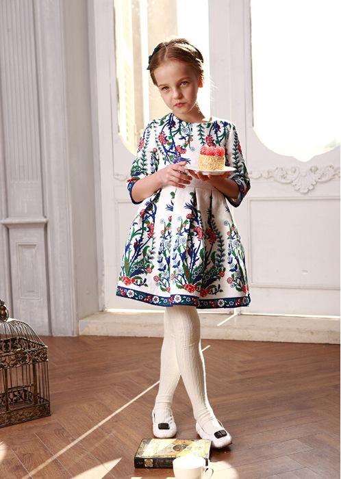 2016 Girls spring print long sleeve princess dress , kids costumes girls , baby girl costume , 6pcs/lot   HXT09<br><br>Aliexpress