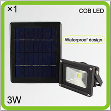 Manufacturer solar 3W HIGH BRIGHT COB LED flood light led courtyard light led projector 2000mah Li-ion battery ourdoor wall lamp(China (Mainland))