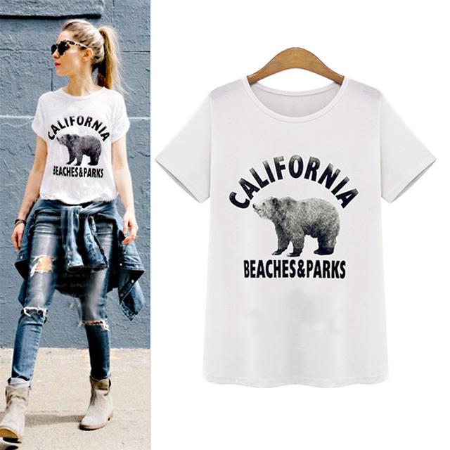 2016 женщин т футболка летние мода о-образным вырезом белый медведь топы с коротким рукавом дна бесплатная доставка