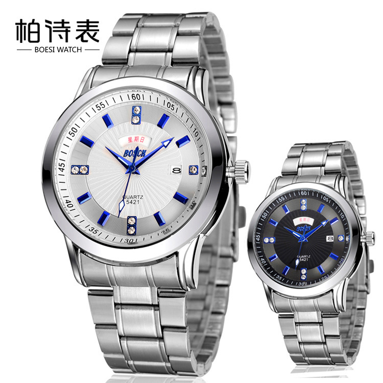 2016 Real Direct Selling International Table Of High-end Men's Double Calendar Steel Chain Dual Waterproof Quartz Watch 5421(China (Mainland))