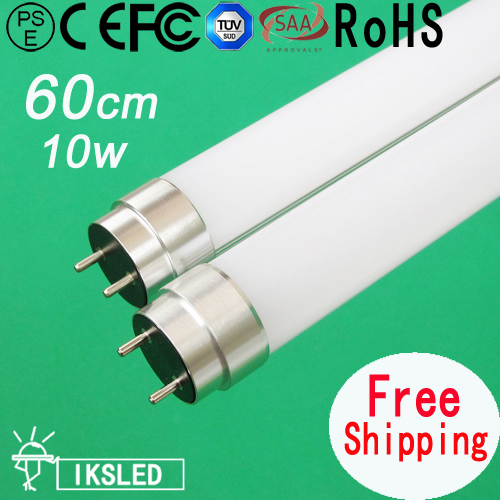 High brightness European Market 2pcs Free shipping milk transparent Cover led tube T8 led lighting 60cm 10W SMD2835 880lumens(China (Mainland))