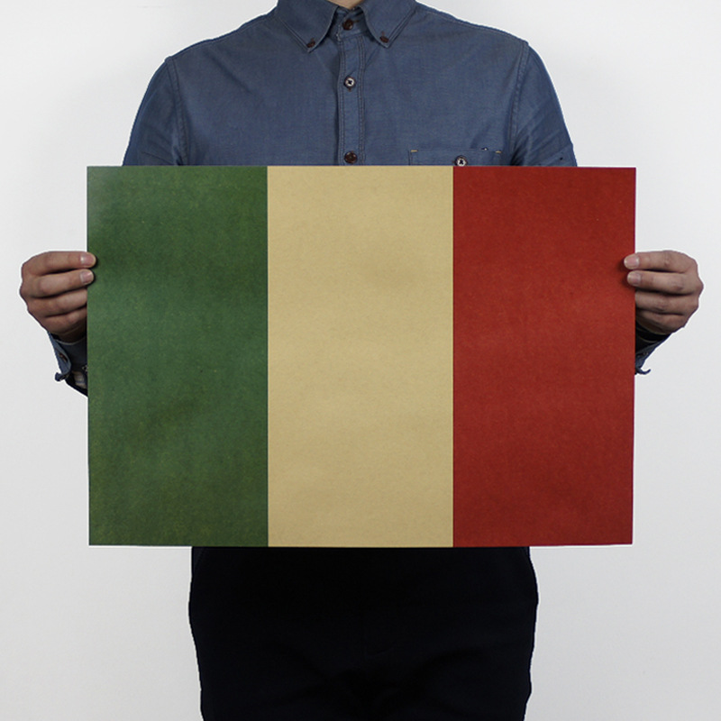 Retro Movie Poster National Flag Italy Kraft Paper Decorative Painting Core Comic Mural Wallpaper Home Furnishing Draw Picture(China (Mainland))