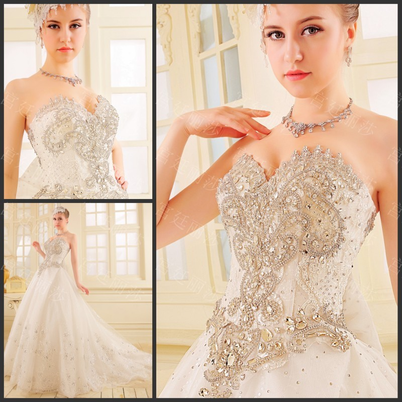 Hard Work Top Quality Real Sample Same as picture 2016 Sweetheart Bridal Gowns Crystal Beaded White Wedding dress for women(China (Mainland))