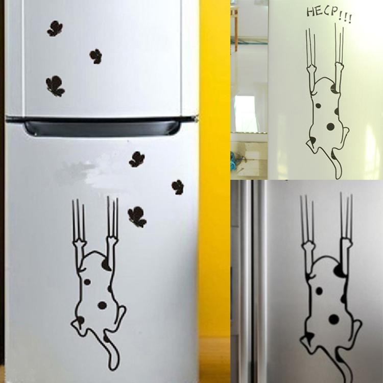 الكرتون القط الثلاجة خطة مطبخ مجلس الوزراء الزجاج والأثاث المبحرون الشارات ملصقات الحائط ديكور المنزل(China (Mainland))