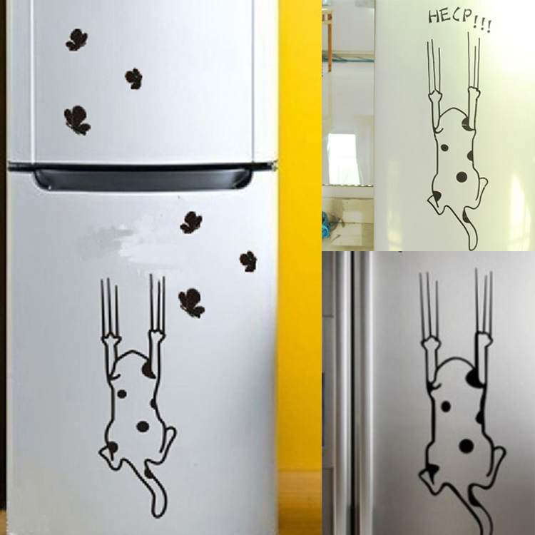Cartoon Cat Pattern Refrigerator Kitchen Cabinet Wall Stickers Furniture Glass Stickers Decals Home Decor(China (Mainland))