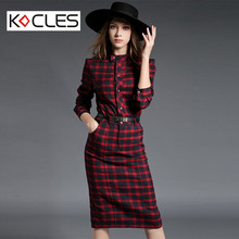 Women Spring Autumn Elegant Modest Slim Mid-Calf Cotton Tunic Belted Tartan Mandarin Collar Long Sleeve Work Party Pencil Dress