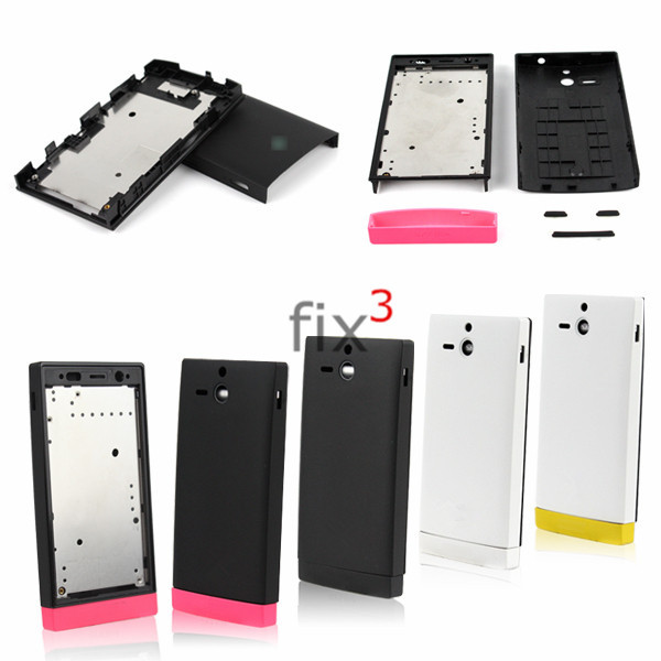 Original New Battery Door Back Cover w/ Front Bezel Chassis Frame for Sony Xperia U ST25i Full Housing with Buttons(China (Mainland))