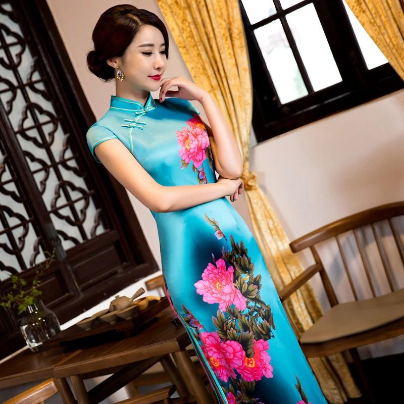 มาใหม่สตรีผ้าไหมยาวCheongsamจีนแฟชั่นสไตล์การแต่งกายที่สวยงามบางQipaoรสเสื้อผ้าขนาดSml XL XXL F072649 ถูก