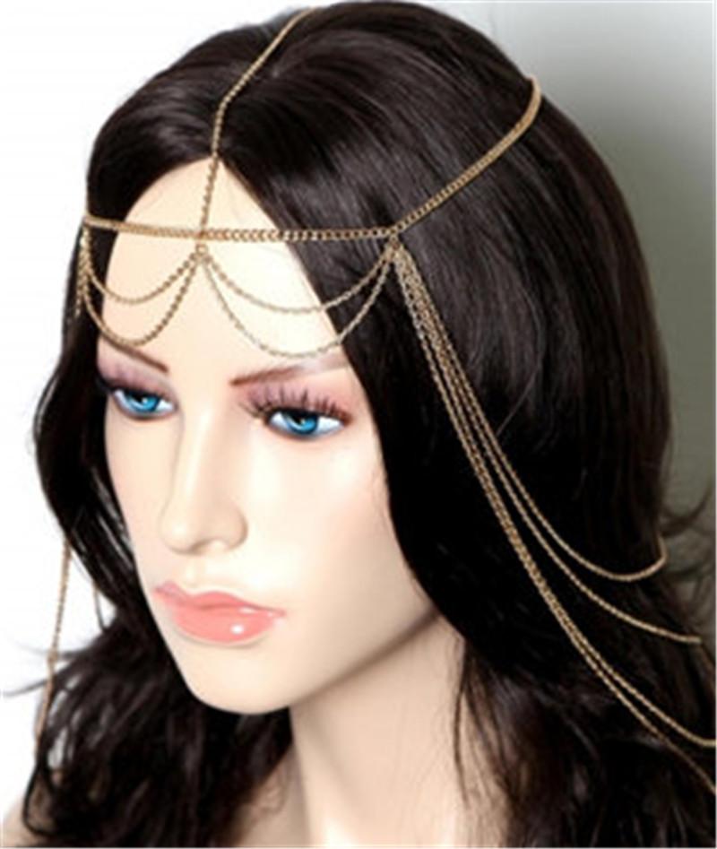 Metal head chain headpiece jewelry