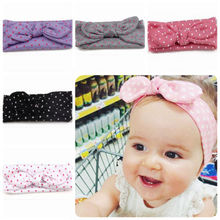 1pcs Fashion Infant Baby Girls Kids Toddler Polka Dot Turban Knot Rabbit Hairband Headband Head wrap Hair Band Accessories