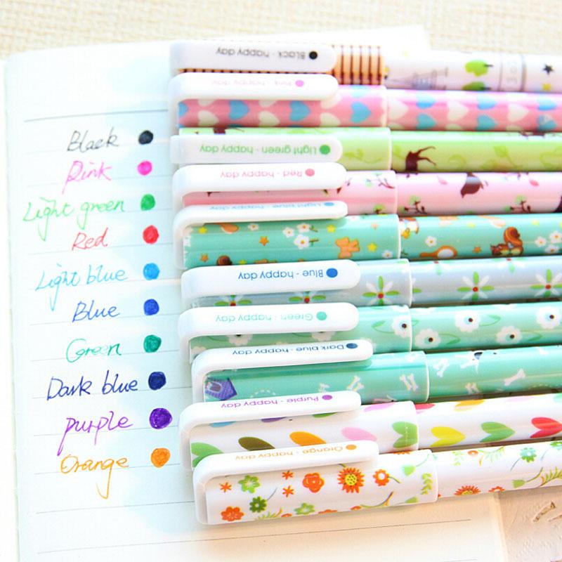 10 pcs/lot cartoon floral gel pen kawaii color pens papelaria stationery material escolar school supplies<br><br>Aliexpress