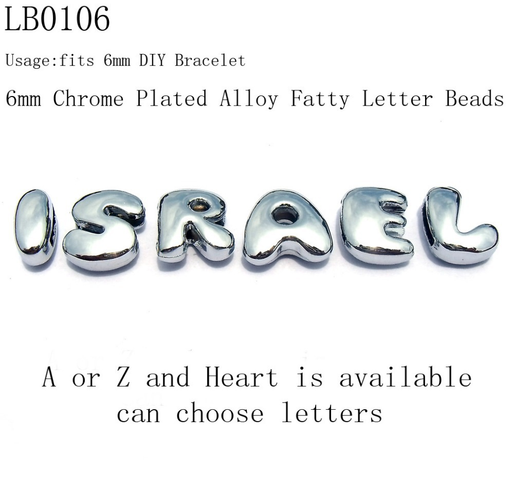 6mm Kids Top Quality Shiny Silver Tone Zinc Alloy Fatty Letter Loose Beads,DIY Initial Alphabet Beads,Wholesale 520pcs/lot(China (Mainland))