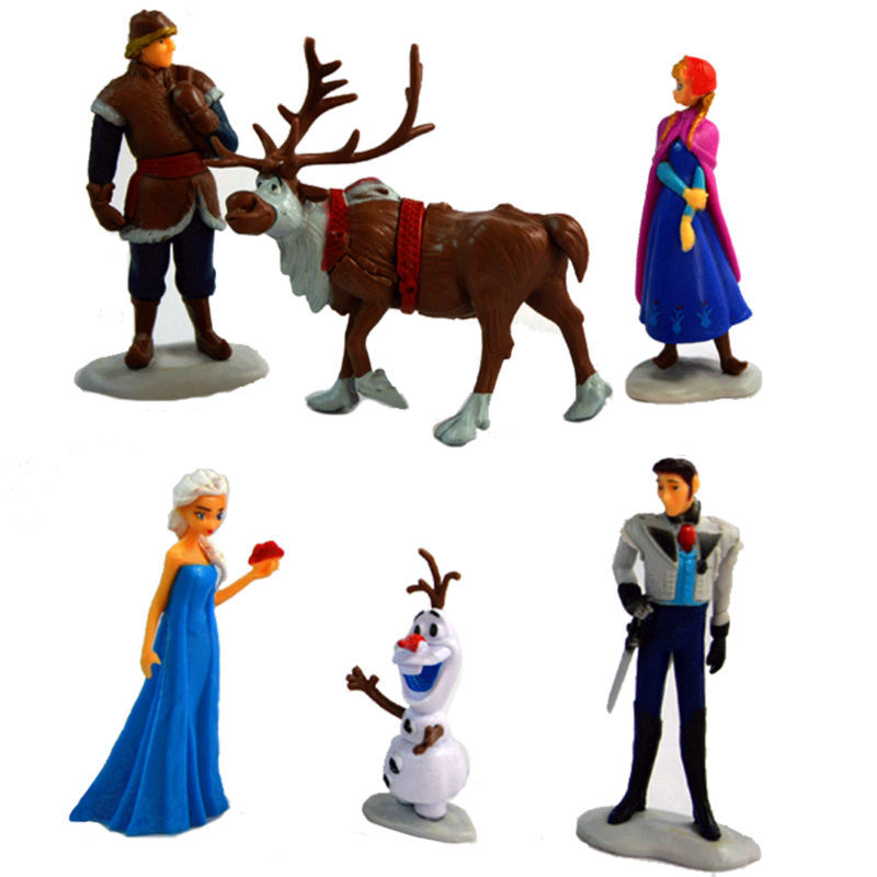 Anime Baby Toys 6 Action Figures Anna And Elsa Dolls Lovely Princess Hans Kristoff Sven Olaf Scale Model Dolls For Kids In Stock(China (Mainland))