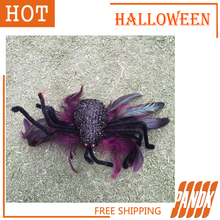 Furry Spider Hairpin Halloween Spider Poseable Haunted House chamber Halloween decorations props spider terror Free Shipping(China (Mainland))