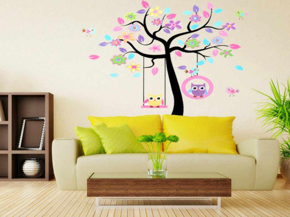 Topsalestore Home Decor Rooms Decal Wallpaper Owls Tree Kids Mural Living Mall Removable Wall