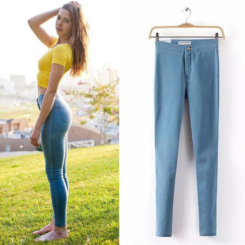 Hot Sale 2016 Fashion Pencil Jeans Woman Casual Denim Stretch Skinny Jeans Vintage High Waist Jeans Women Black Blue Plus Size(China (Mainland))